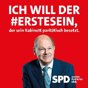 Olaf Scholz sagt: Ich will der erste sein, der sein Kabinett paritätisch besetzt.