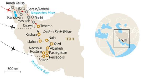 Karte Iran Rundreise