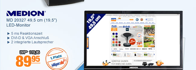 "Medion MD 20327 49,5 cm                                             (19,5"") LED-Monitor"