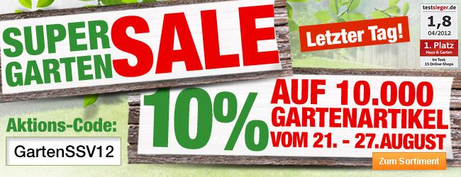 Super Garten SALE - 10%                                             auf Gartenartikel