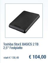 "Toshiba Stor.E BASICS 2                                             TB 2,5"" Festplatte"