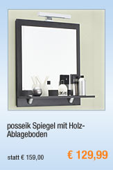 posseik Spiegel mit                                             Holz-Ablageboden