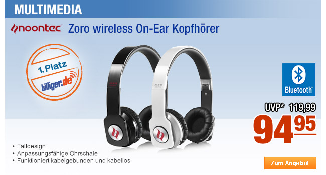 Noontec Zoro wireless                                             On-Ear Kopfhörer