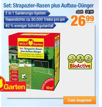 Wolf Garten Set:                                             Strapazier-Rasen plus                                             Aufbau-Dünger