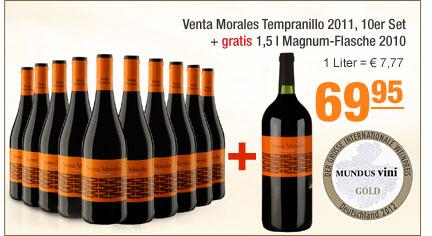 Venta Morales                                             Tempranillo 2011 10er Set +                                             1,5l Magnum-Flasche 2010