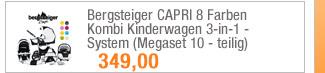 Bergsteiger CAPRI 8                                             Farben Kombi Kinderwagen                                             3-in-1 - System (Megaset 10                                             - teilig)
