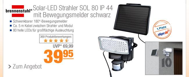 Brennenstuhl Solar-LED                                             Strahler SOL 80 IP 44 mit                                             Bewegungsmelder schwarz