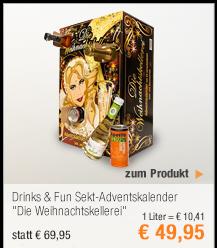 """Drinks & Fun                                             Sekt-Adventskalender                                             """"Die                                             Weihnachtskellerei"""""""