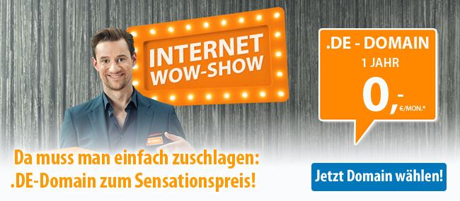 Da muss man einfach zuschlagen! - .DE-Domain zum Sensationspreis! 1 Jahr 0,- €/Mon.*
