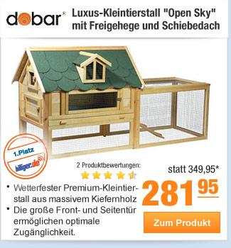 """Luxus-Kleintierstall                                             """"Open Sky"""" mit                                             Freigehege und Schiebedach"""