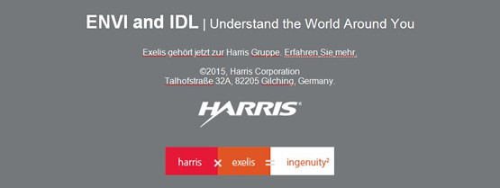 ENVI and IDL   Understand the World Around You. Exelis gehört jetzt zur Harris Gruppe.
