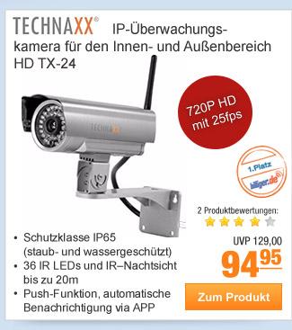 Technaxx                                             IP-Überwachungskamera für                                             den Innen- und Außenbereich                                             HD TX-24