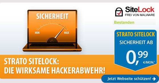 STRATO SiteLock: die wirksame Hackerabwehr! STRATO SiteLock ab 0,99 €/Mon.* - Jetzt Homepage schützen!