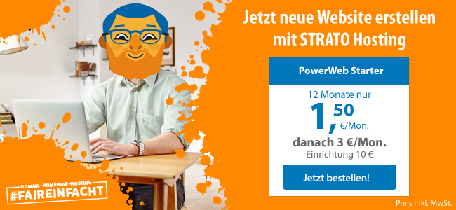 Neue Website erstellen mit STRATO Hosting: PowerWeb STarter, 12 Monate nur 1,50 Eur/Mon., danach 3 EUR/Mon., Einrichtung 10 Eur. Jetzt bestellen.