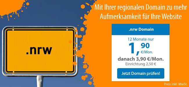.nrw - Mit Ihrer regionalen Domain zu mehr Aufmerksamkeit für Ihre Website - 12 Monate für nur 1,90 €/Mon., danach 3,90 € - Vertragslaufzeit 12 Monate, Preis inkl. MwSt.