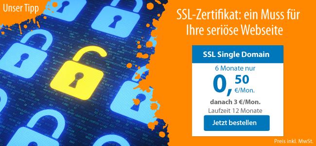 SSL Single Domain: 6 Monate nur 0,50 €/Monat, danach 3,00 €/Monat. Abrechnung 6 Monate im Voraus. Laufzeit 12 Monate. Preise inklusive Mehrwertsteuer.