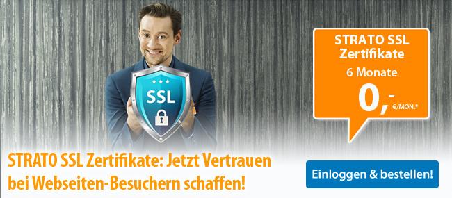 STRATO SSL Zertifikate: Jetzt Vertrauen bei Webseiten-Besuchern schaffen! SSL Zertifikate 6 MOnate 0 €/Mon.* - Einloggen & bestellen!