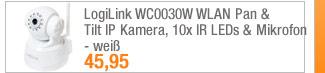 LogiLink WC0030W WLAN                                             Pan & Tilt IP Kamera,                                             10x IR LEDs & Mikrofon -                                             weiß