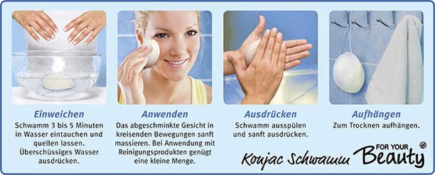 Anleitung for your Beauty Konjac Gesichtsreinigungsschwamm