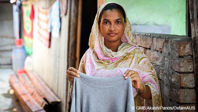 Die 25-jährige Anju arbeitet als Textilarbeiterin in Bangladesch. In ihrem ganzen Leben wird sie so viel verdienen wie der Vorstandsvorsitzende eines großen Modekonzerns in nur vier Tagen.