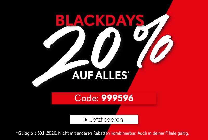 Black Days! 20% auf alles mit dem Code 999596