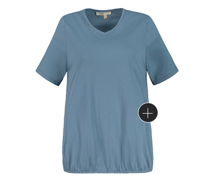 Shirt aus natürlich weicher Biobaumwolle mit elastischem Saum. Gerundeter V-Ausschnitt, Halbarm. Mit dem RICHTIG SO - WEITER SO Herz erkennst Du, dass unsere Kleidungsstücke anteilig oder sogar vollständig nachhaltig hergestellt sind.