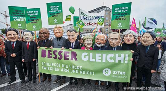 Bereits im Vorfeld des G20-Gipfels ging Oxfam auf die Straße – gegen soziale Ungleichheit