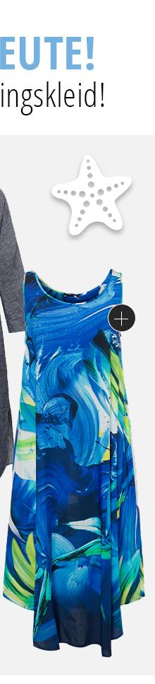 Kleid mit Aquarellmuster. Leichte Qualität mit Rundhalsauschnitt, ärmellos. Mit dem RICHTIG SO - WEITER SO Herz erkennst Du, dass unsere Kleidungsstücke anteilig oder sogar vollständig nachhaltig hergestellt sind.
