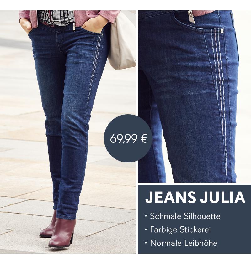 Jeans Julia, farbige Stickereien an den Taschen, schmale 5-Pocket-Form