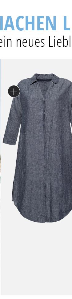 Leinen-Kleid, natürlich kühl. Hemdblusenkleid mit offenem Kragen und verdeckter Knopfleiste. Seitliche Nahttaschen. Oversized-Passform mit überschnittenen Schultern und 3/4-Ärmeln mit Umschlag.