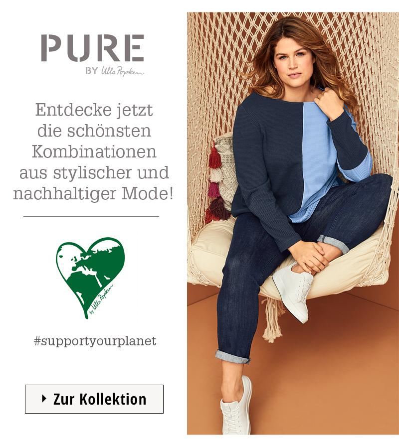Die Kollektion von Ulla Popken Pure setzt auf Natürlichkeit und stellt dein Wohlbefinden in den Vordergrund. In den weichen, natürlichen Stoffen und Designs mit besonderen Details bist du einfach du selbst. Bei dieser Kleidung kannst du dir sicher sein, dass sie zu mindestens zu 70 % aus Naturfasern besteht. Damit kannst du dich in unserer Kleidung unbeschwert wohlfühlen.