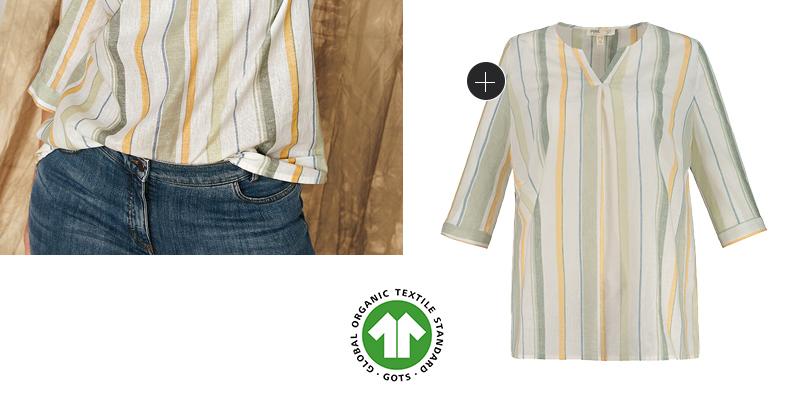 Tunika aus natürlich weicher Biobaumwolle - immer angenehm zu tragen. Tunika-Ausschnitt, 3/4-Ärmel mit Manschetten. Mit dem RICHTIG SO - WEITER SO Herz erkennst Du, dass unsere Kleidungsstücke anteilig oder sogar vollständig nachhaltig hergestellt sind.