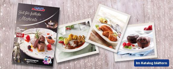Jetzt ist wieder die Zeit für festliche Momente… Und das ist auch das Motto unseres Weihnachtsprogramms, gültig vom 23.10. bis 23.12.2017. Erleben Sie wunderbare Festtage mit edlen Vorspeisen, feinen Hauptgerichten und verführerischen Desserts. Ob Hummercremesuppe, gewürzte Gänsekeulen, gefüllte Ente, Weckmänner zum Selberbacken, Eis-Schneemänner oder Meringata Mignon - bestellen Sie sich Vorfreude! Zum Weihnachtsprospekt als Online-Blätterkatalog.