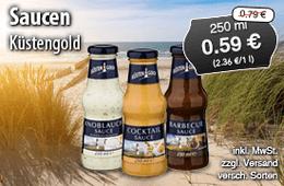 Saucen von Küstengold ab 0,59 Euro Streichpreis 0,79 Euro, 200ml, zzgl. Versand, inkl. MwSt., versch. Sorten - zum Bestellen hier klicken