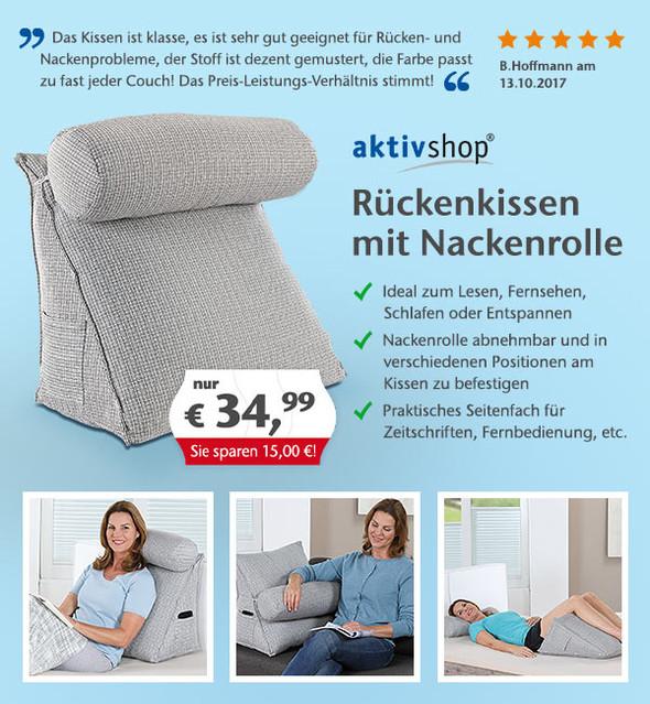 jetzt entdecken das aktivshop r ckenkissen mit nackenrolle aktivshop gutscheine deals. Black Bedroom Furniture Sets. Home Design Ideas