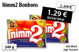 Angebot: Nimm2 Bonbons, 240g, Streichpreis 1,59 Euro, Angebotspreis 1,29 Euro, inkl. MwSt., zzgl. Versand - zum Kaufen hier klicken!