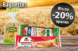 Bis zu 20% auf die Baguettes aus unserem Sortiment, versch. Sorten - zum Bestellen hier klicken