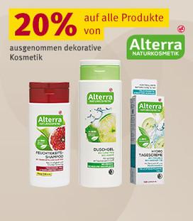 20% Rabatt auf alle Produkte von Alterra Naturkosmetik (ausgenommen dekorative Kosmetik)