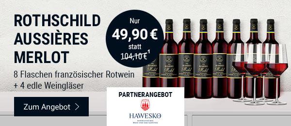 Rothschild Aussières Merlot: 8 Flaschen französischer Rotwein inkl. 4 edler Gläser. Nur 49,90€ (1) anstatt 104,10€.