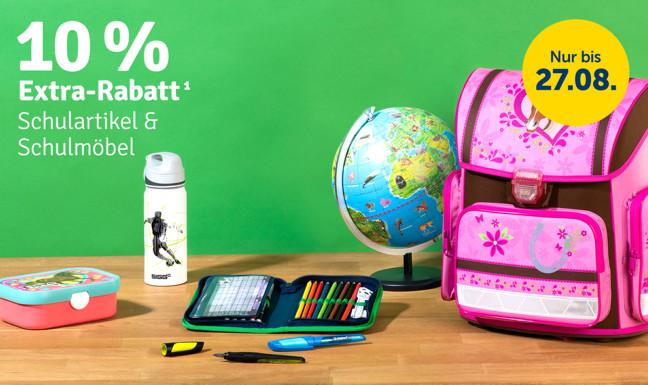 10% Extra-Rabatt auf Schulartikel & Schulmöbel¹
