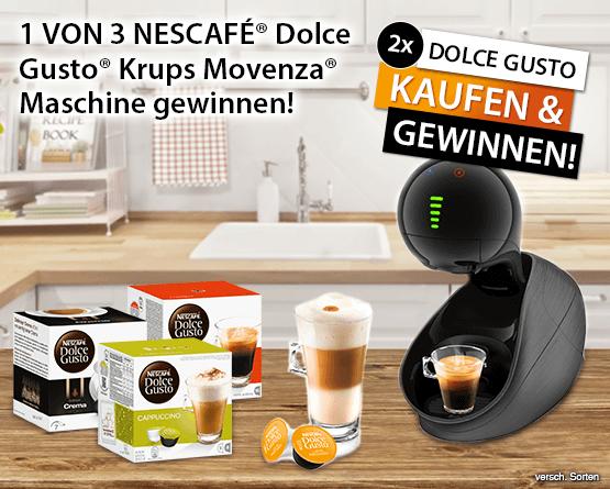 2x Dolce Gusto kaufen und 1 von 3 Nescafe Dolce Gusto Krups Movenza Maschinen gewinnen - zum Bestellen hier klicken