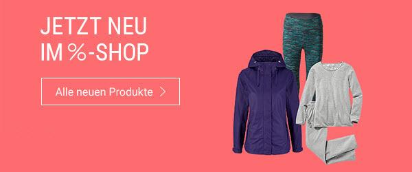 Entdecken Sie im %-Shop jede Woche neue Produkte aus Mode, Accessoires, Sport & Wohnen zu unschlagbar günstigen Preisen.