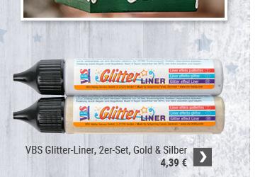VBS Glitter-Liner, 2er-Set, Gold & Silber