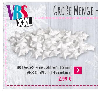 "80 Deko-Sterne ""Glitter"", VBS Großhandelspackung"